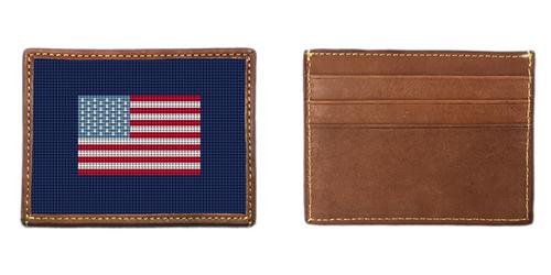 US Flag Needlepoint Card Wallet