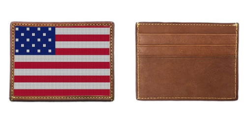 USA Flag Needlepoint Card Wallet