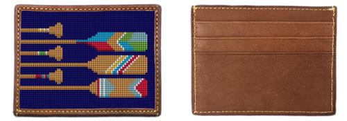 Preppy Paddling Needlepoint Card Wallet