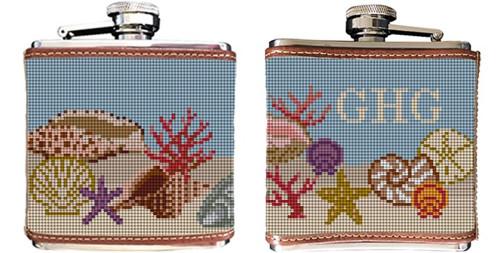 Seashell Needlepoint Flask