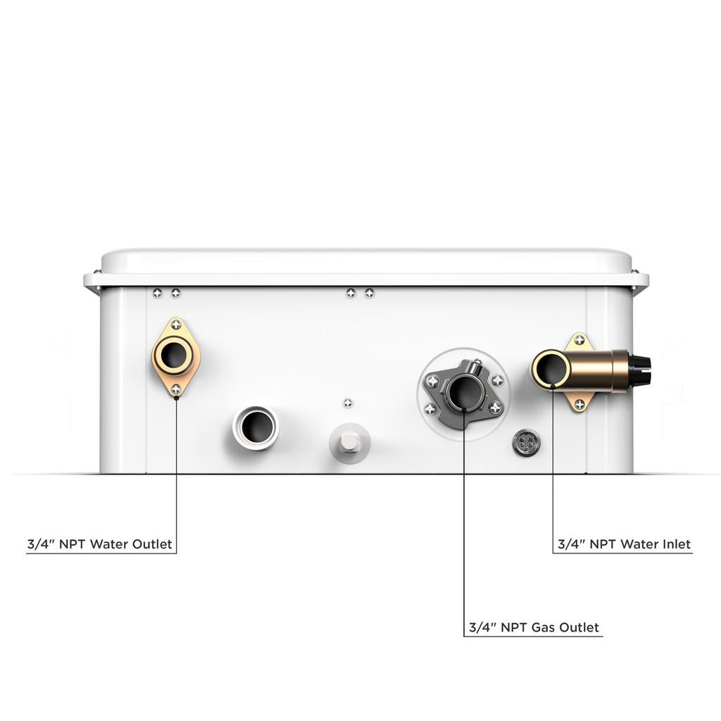 Eccotemp 45HI Indoor 6.8 GPM Liquid Propane Tankless Water Heater Bottom Callout