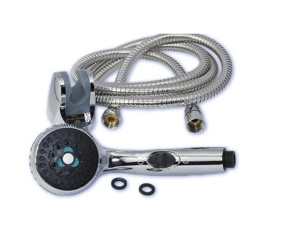Chrome Shower Head and Stainless Steel Hose