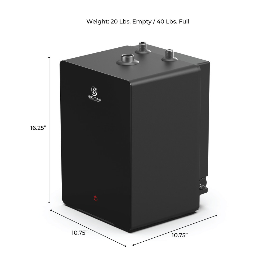 Eccotemp SmartHome 2.5 Gallon Mini Tank Water Heater Side View with Dimensions