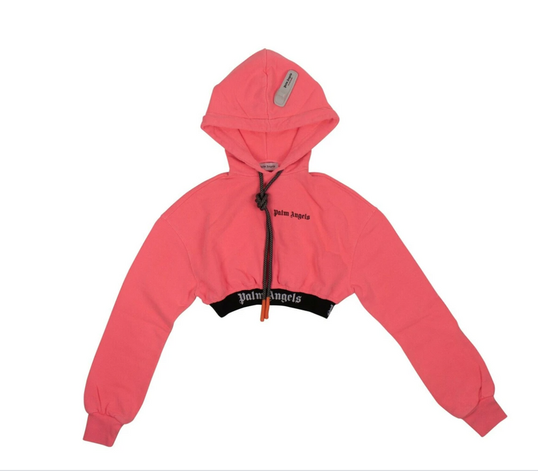 Palm Angels - Women's Logo Cropped Hoodie (Pink)