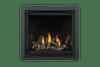 Altitude X42 Shown With Porcelain Panels, Oak Log Set & Charcoal Zen Front