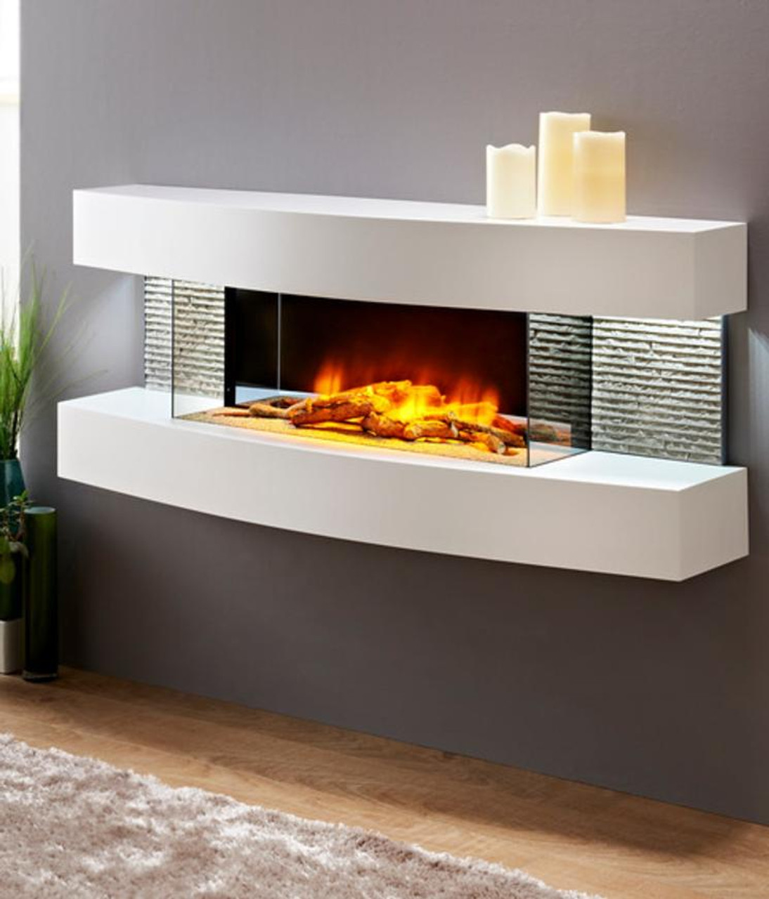 Miami Curve Wall Mounted Electric Fireplace