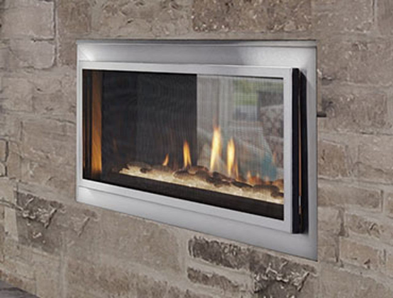 Mezzanine See Through Indoor To Outdoor Gas Fireplace