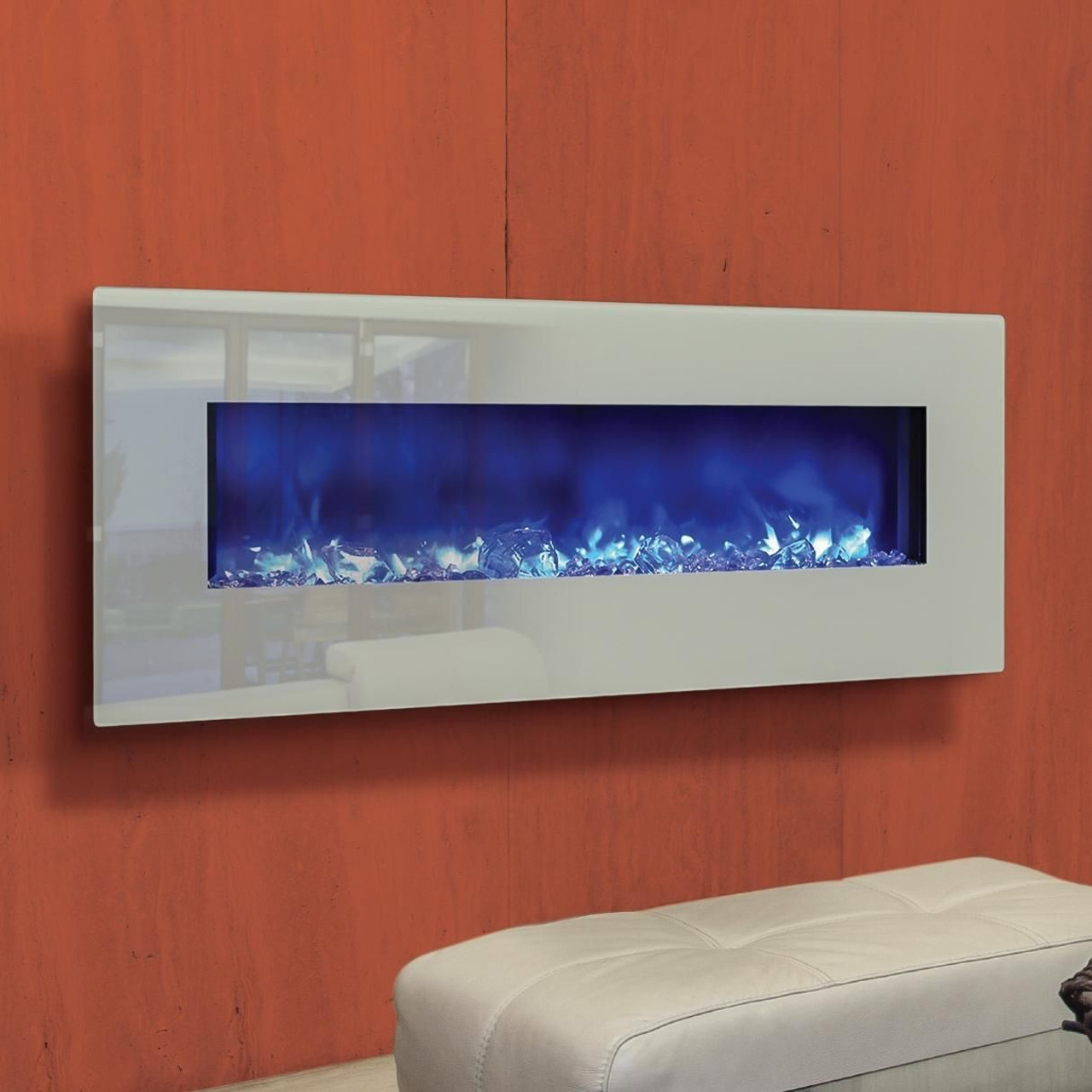 Outstanding Amantii Fire Ice Series 48 Electric Fireplace With White Glass Surround Wm Bi 48 5823 Whtgls Home Interior And Landscaping Sapresignezvosmurscom