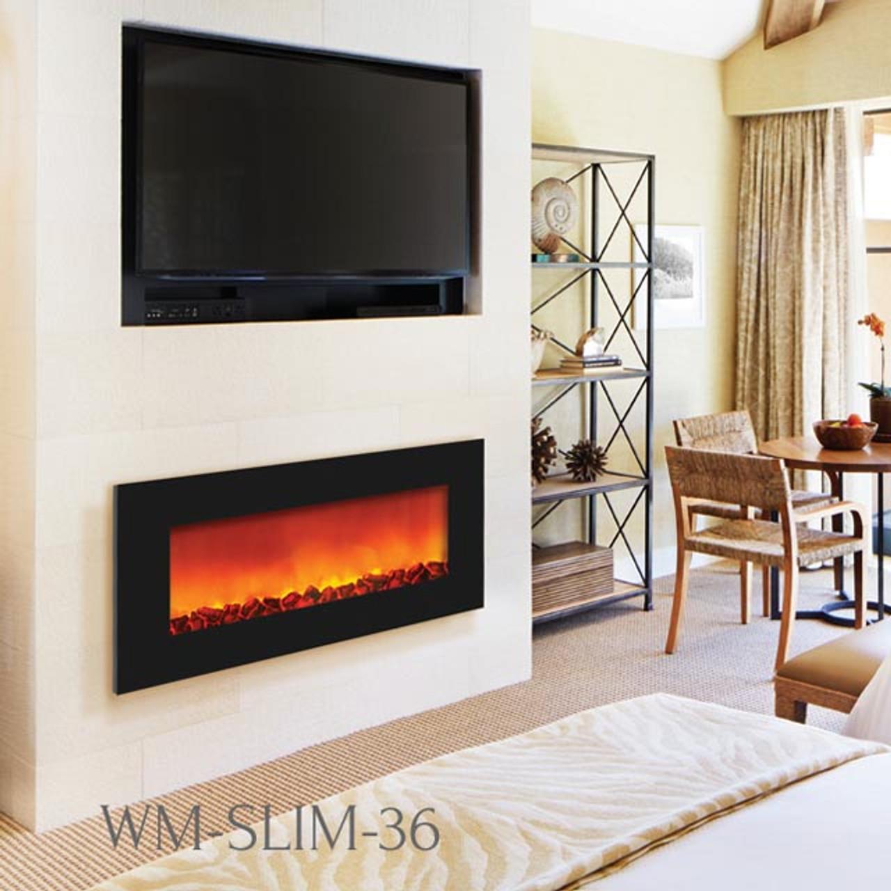 Sierra Flame Wm Slim 36 Slim Wall Mount Electric Fireplace