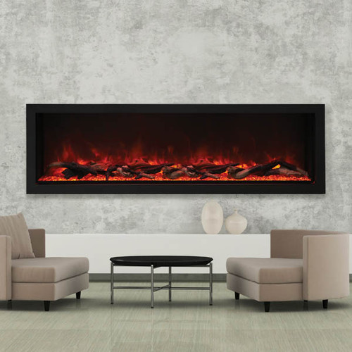 "Amantii BI-72-DEEP-XT – 72″ Wide & 18"" Tall Electric Fireplace"