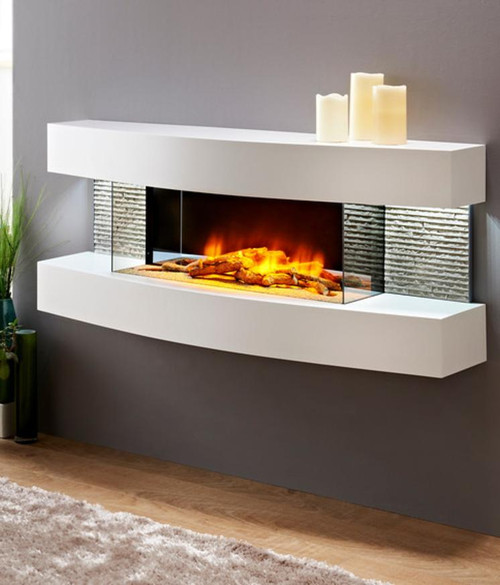 Miami Curve Electric Fireplace White Finish