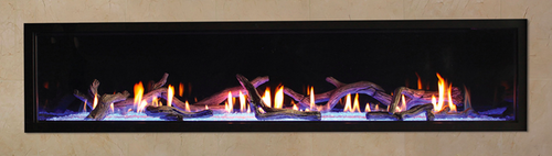 Boulevard 72 Direct Vent Gas Fireplace Shown With Optional Driftwood Logs