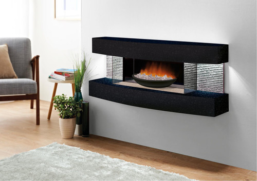 Miami Curve Fire Pit Wall Mount Electric Fireplace