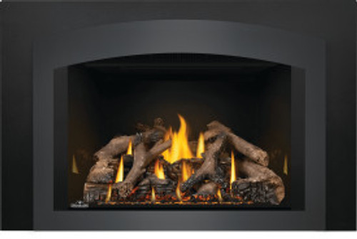 Oakville X3 Shown W/ Small Arched Charcoal Faceplate,Medium 3 Sided Backer Plate & Reflective Black Firebox Panels
