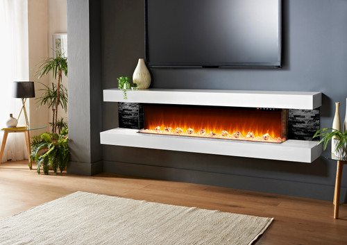 Vegas 96 Inch Electric Fireplace W/ White Finish & Black Tiles