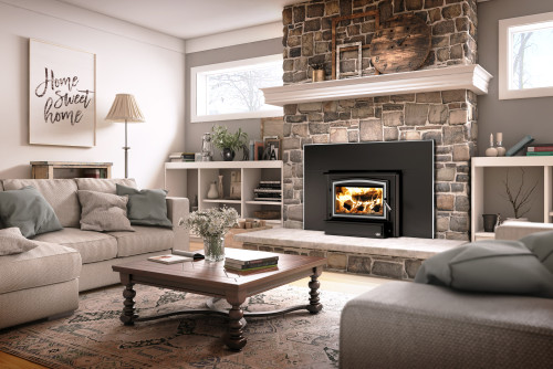 Osburn 1700 Wood Burning Fireplace Insert Shown With Nickel Door Overlay & Nickel Trim