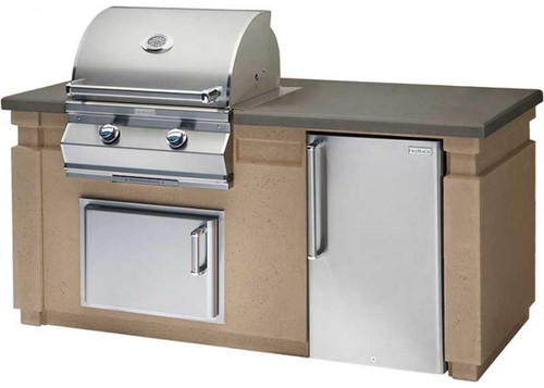 Fire Magic Pre-Fab Grill Islands, Cafe Blanco Base with Polished Smoke Counter (35-in x 76-in)