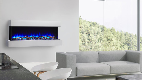 Simplifire Scion Trinity Electric Fireplace, Shown With Wall Mount Cabinet