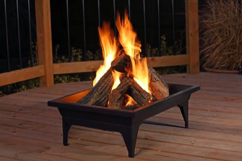 Barbara Jean Rectangle Firepit Shown With Optional Log Set