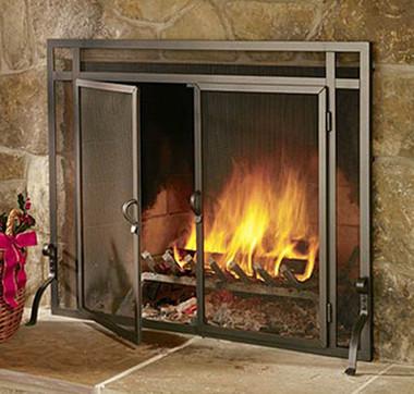 Pilgrim Forged Iron Fireplace Screen Door