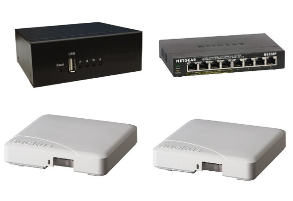 Audio Over WiFi Broadcast Server + 2 Ruckus Access Point + Gigabit Ethernet PoE Switch