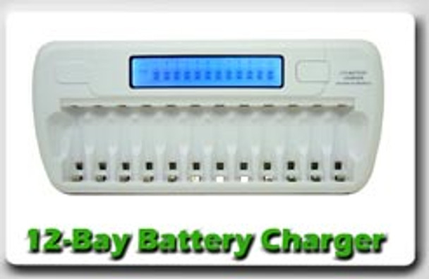 12-Bay LCD Fast Battery Charger