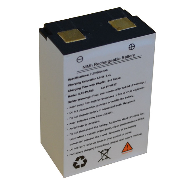 Replacement rechargeable NiMH battery for PA-200 waistband voice amplifier.