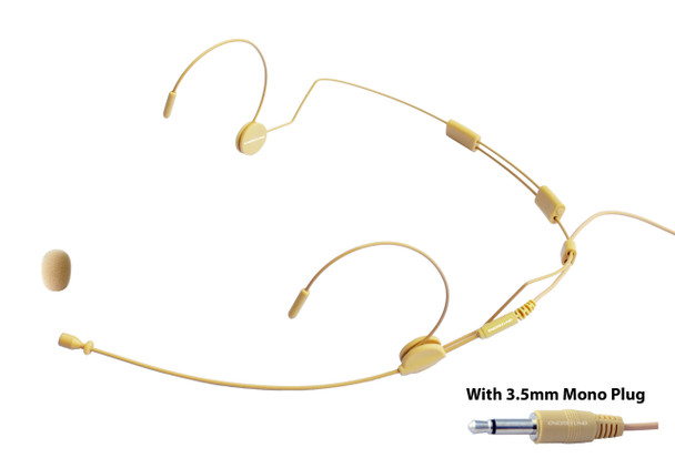 MIC-500 Professional Headset Microphone for  Wireless Systems with 3.5 Mono Connector. Beige.