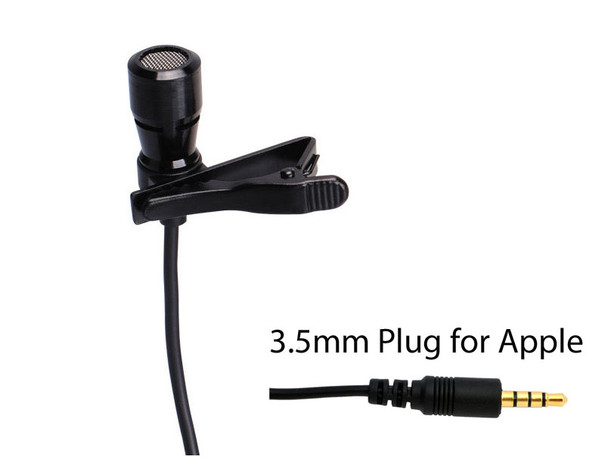 LAV-100APP Professional Lavalier Microphone with 3.5mm TRRS connector for Apple I-Phones and I-Pads.