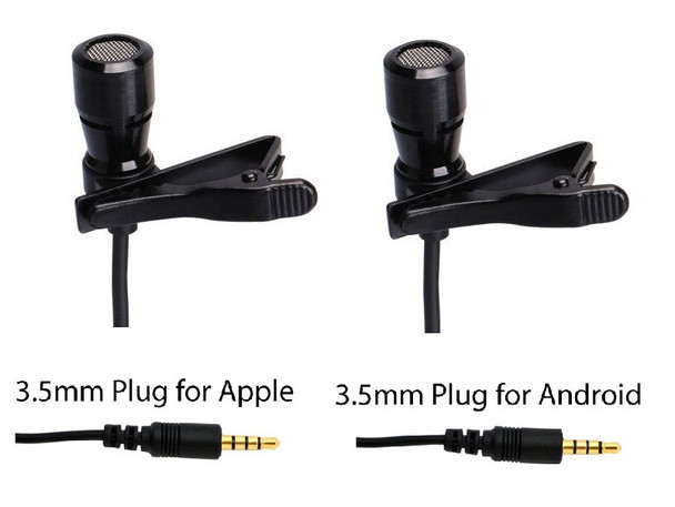 LAV-100BUN Professional Lavalier Microphones with 3.5mm TRRS Plug for Android/Apple Cell Phones and Tablets (2-Pack)