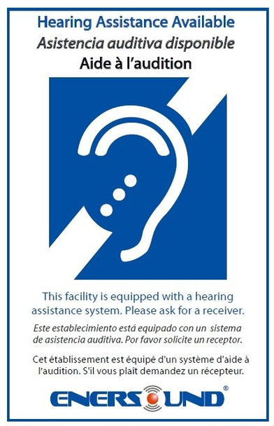 4-Person Enersound Assistive Listening System with ADA Plaque (3-Year Warranty)