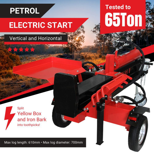 BBT 40/65T Electric Start Hydraulic Petrol Wood Block Log Splitter