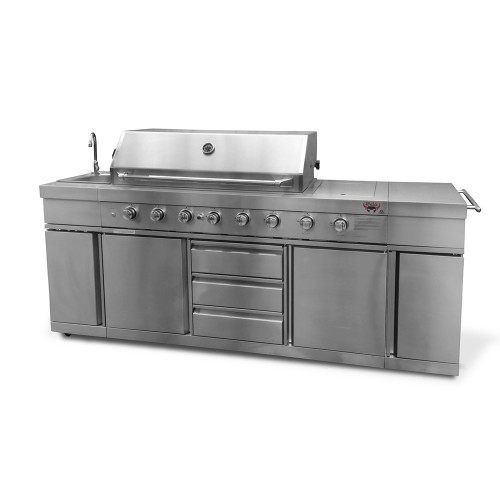 Bull BBQ Stainless Steel Large 8 Burner with Sink
