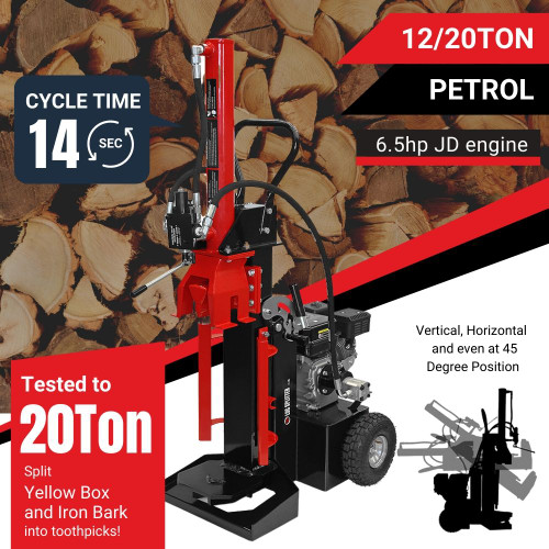12/20 Ton Vertical - Horizontal wood Log Splitter