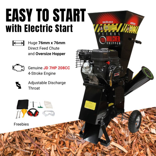 BBT 7hp Electric Key Start Garden Mulcher / Chipper