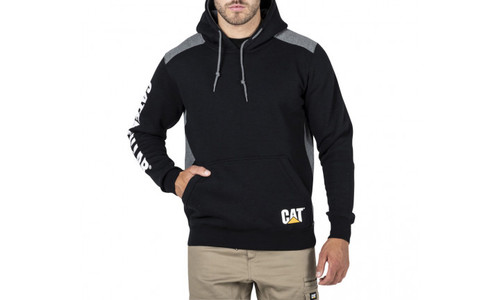 CAT Logo Panel Hooded Sweat - Black