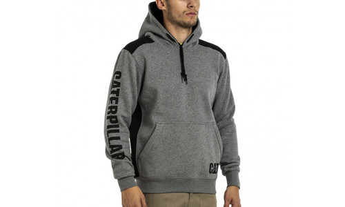 CAT Logo Panel Hooded Sweat - Dark Heather Grey