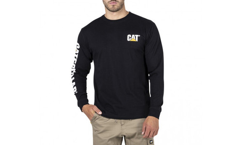CAT Trademark Banner Long Sleeve Tee - Black