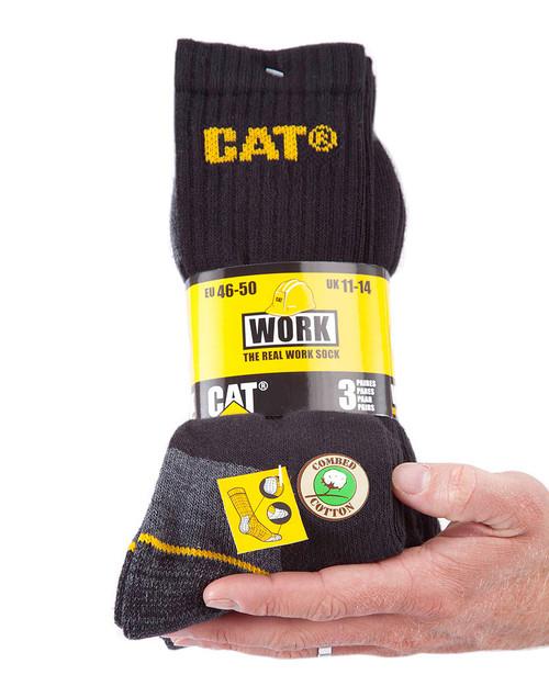 Cat Workwear Crew Sock 3 Pack (size: Large) - Black
