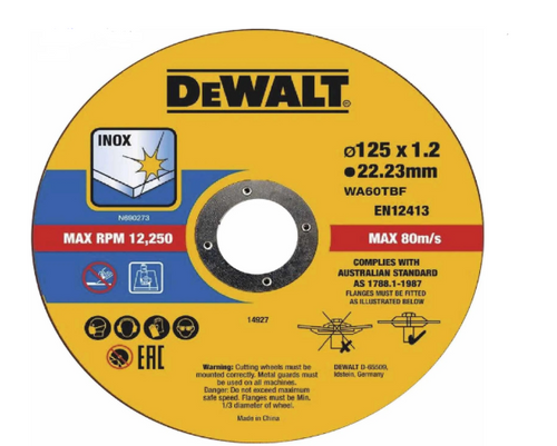 DeWalt 125mm x 1.2 x 22.23mm Thin Cut High Performance Bonded Disc 10pk DT43922-QZ