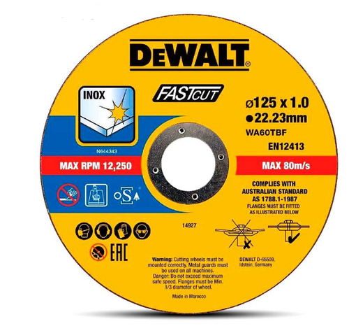 DeWalt 125mm x 1.0 x 22.23mm Thin Cut High Performance Bonded Disc 10pk DT43972-QZ