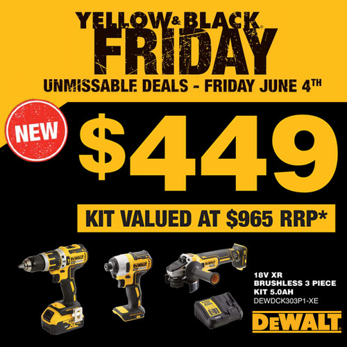 Yellow & Black Friday - Unmissable Deals! 18V XR Brushless 3 piece kit 5.0AH