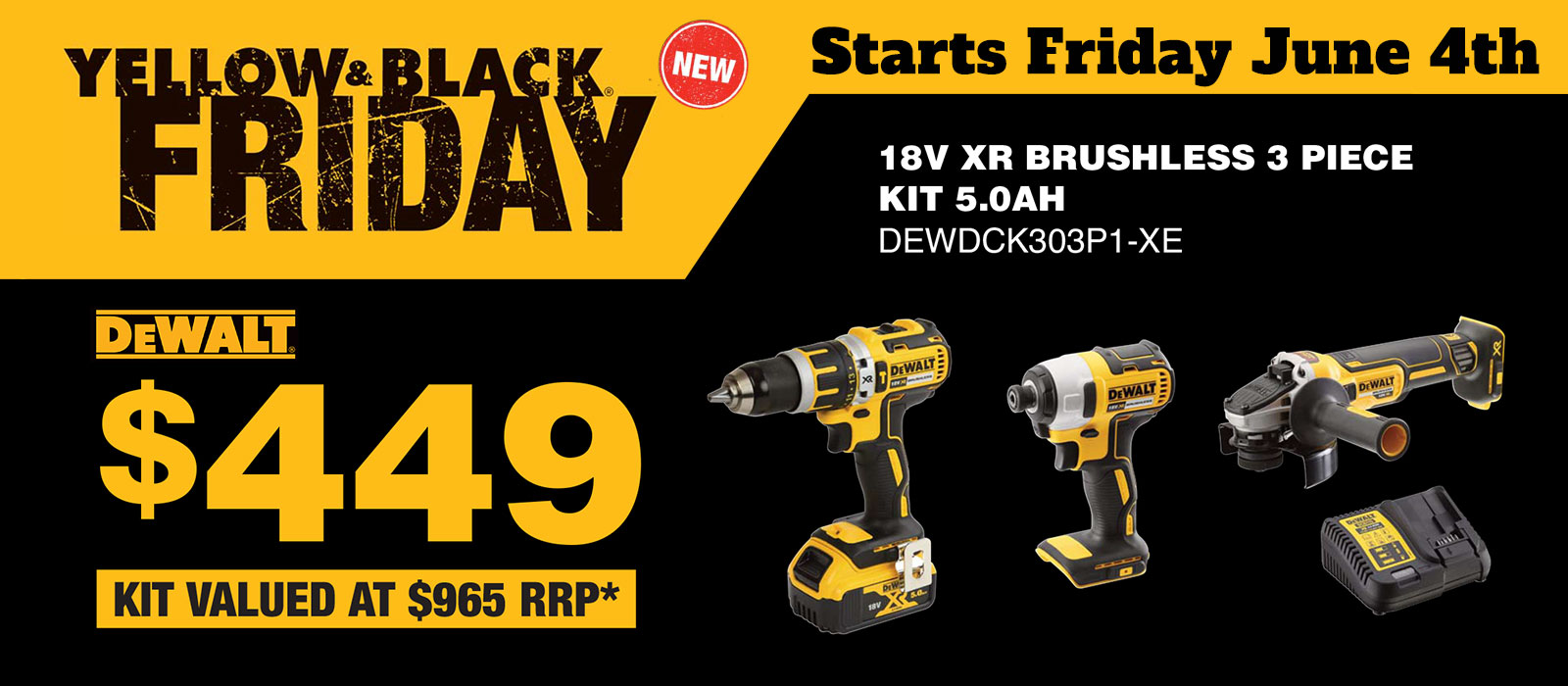 Yellow & Black Friday DEWDCK303P1-XE