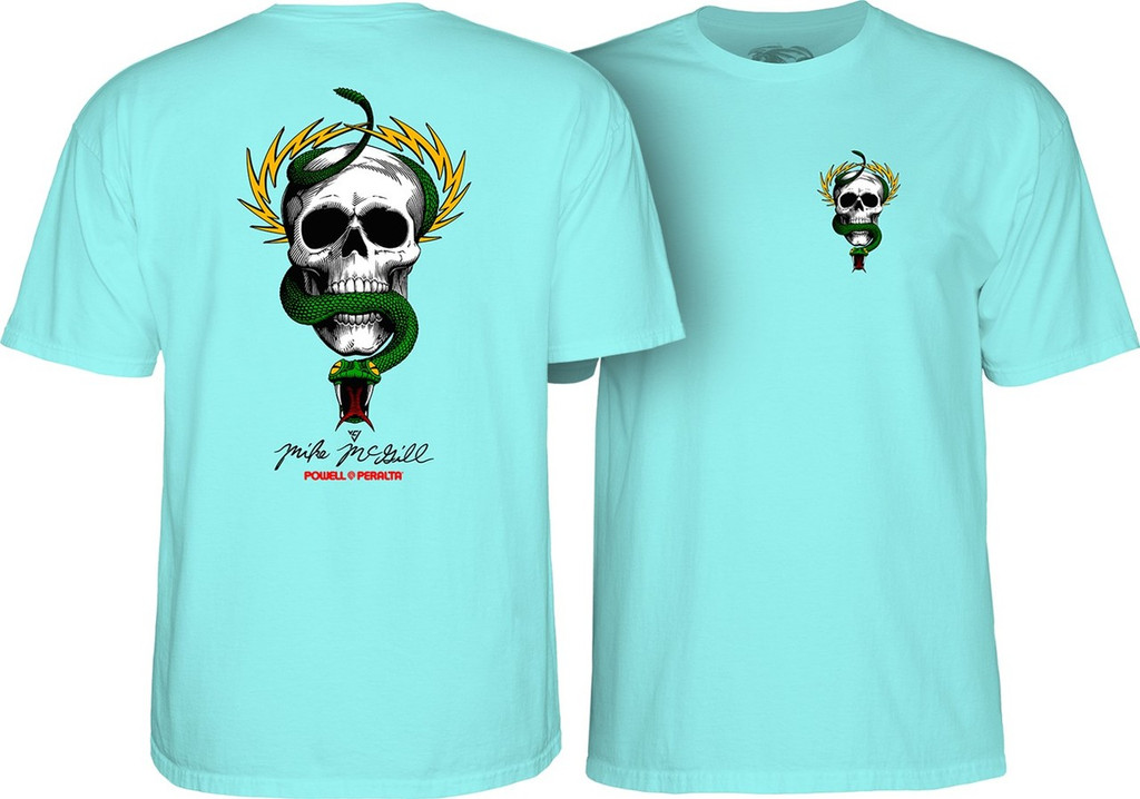Powell Peralta Old School McGill Skull & Snake T-Shirt Celadon Blue