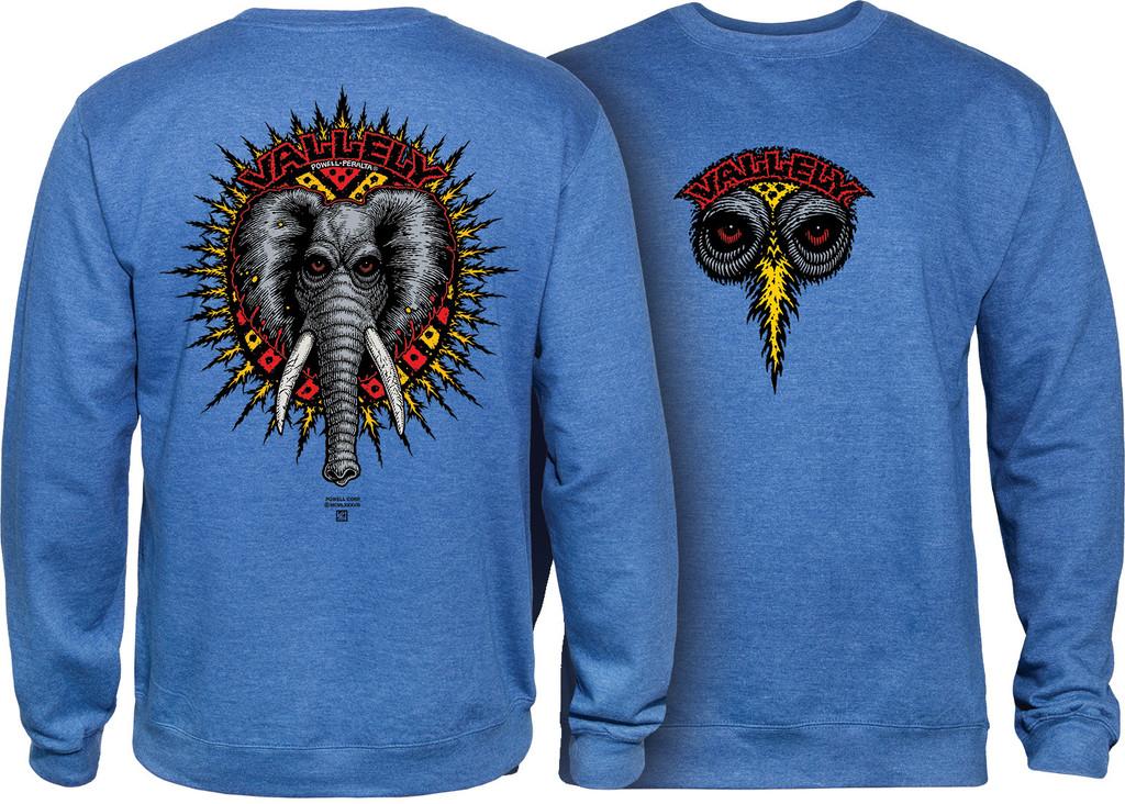 Powell Peralta Vallely Elephant Crew Sweatshirt (Royal Heather)
