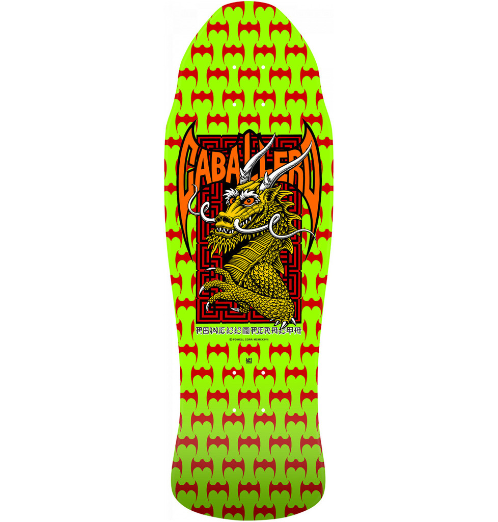 Powell Peralta Old School Caballero Bats & Dragon Street Re-Issue Deck Lime Green