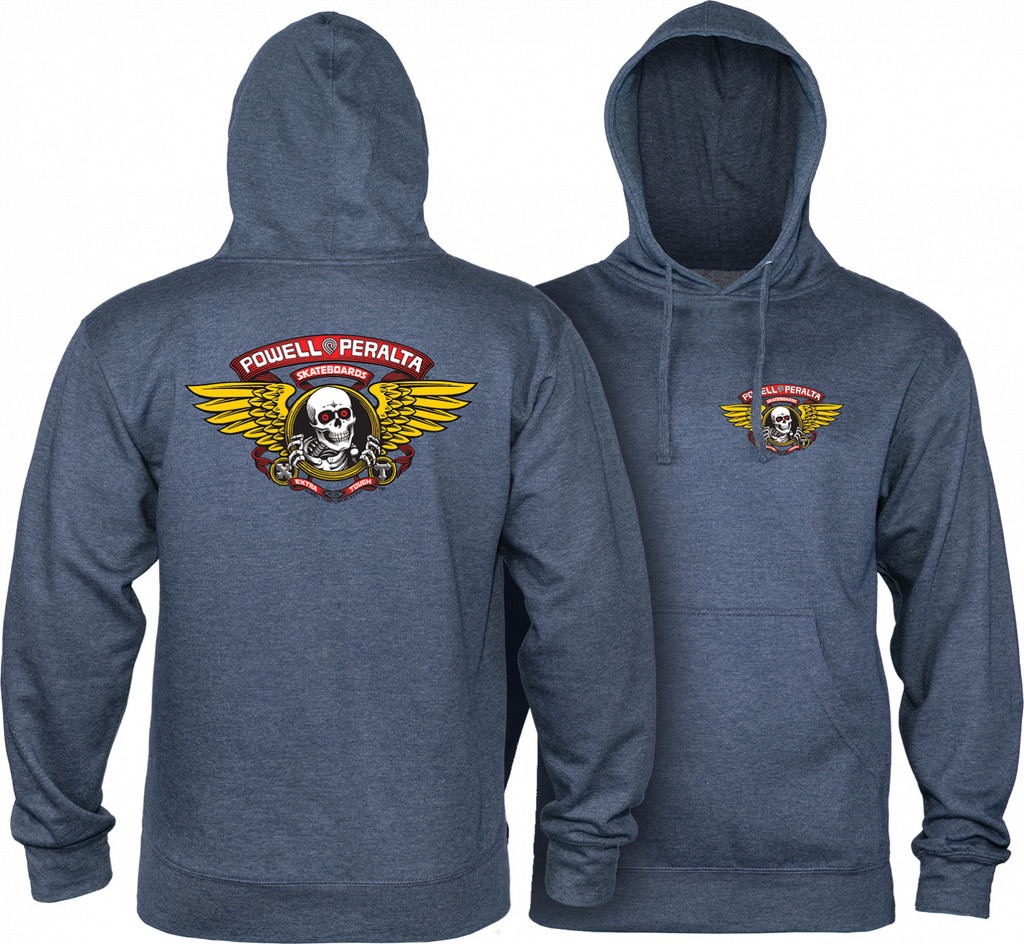 Powell Peralta Winged Ripper Hooded Sweatshirt (Navy Heather)