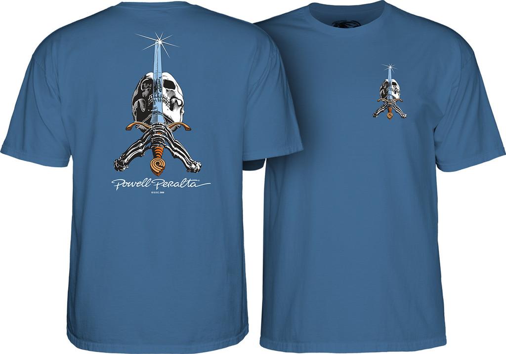 Powell Peralta Old School Skull & Sword T-Shirt (Slate Blue)