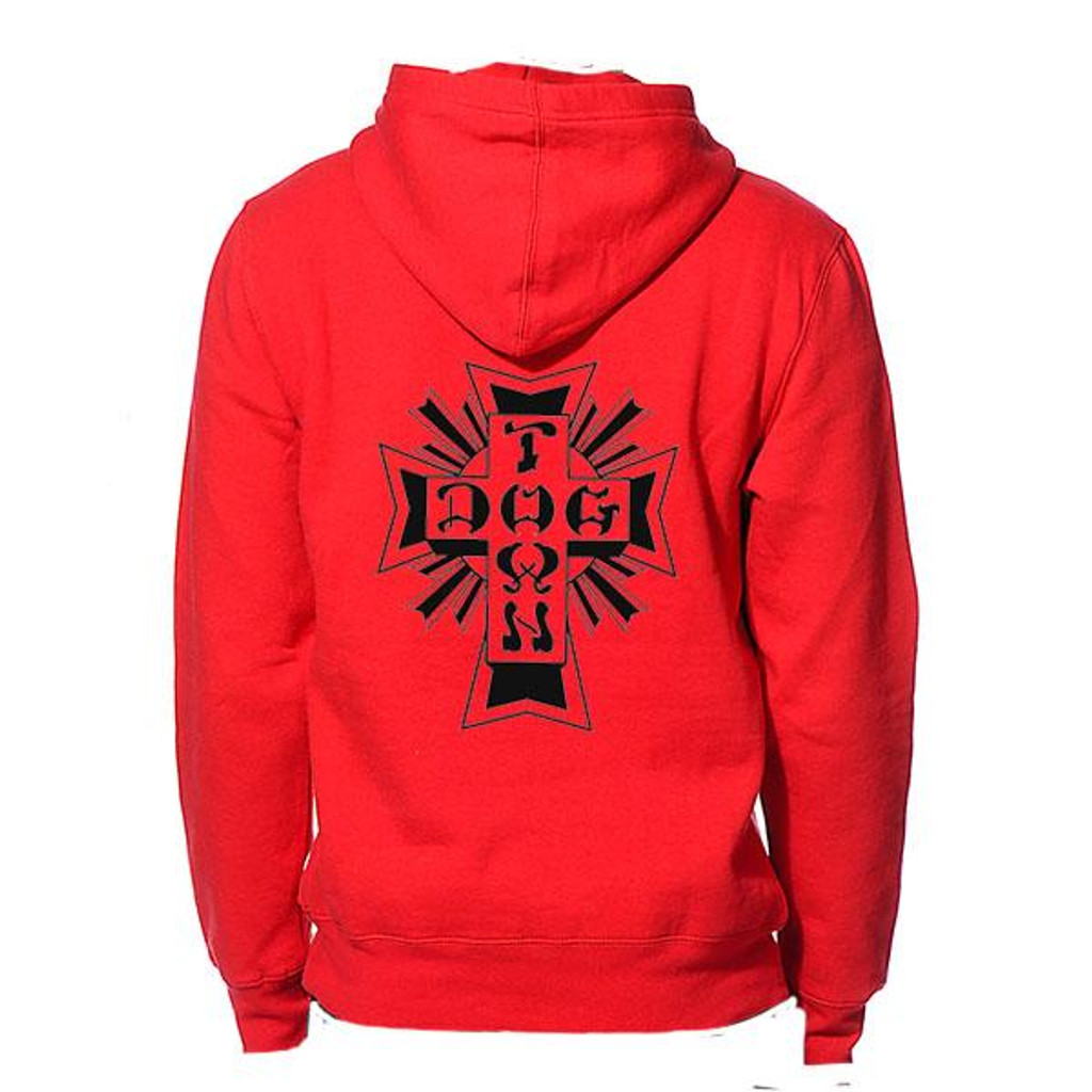 Dogtown Pullover Hood Sweatshirt Cross Logo (Scarlet Red)