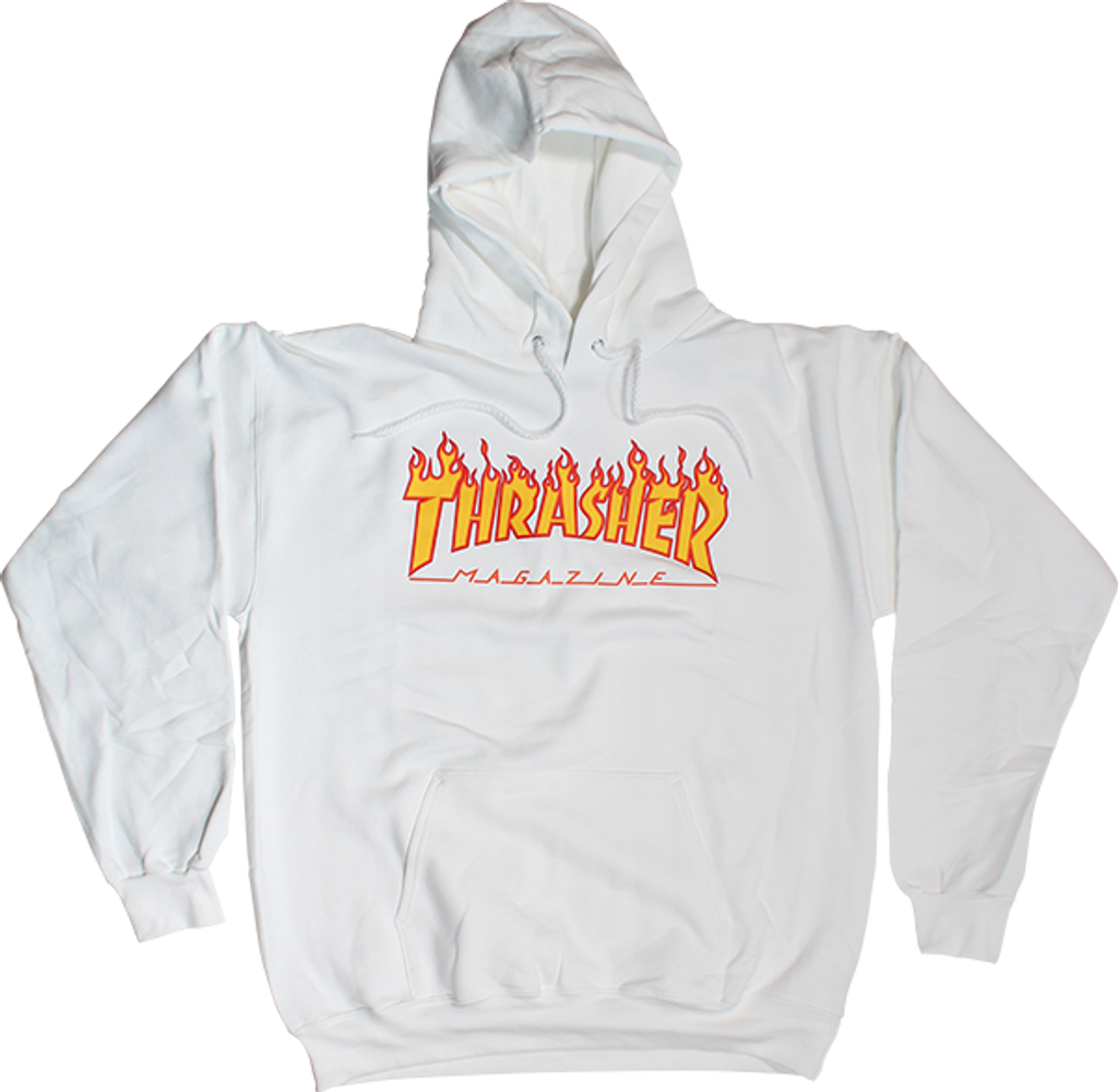 Thrasher Magazine Flame Pullover Hooded Sweatshirt (White)